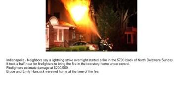 Un rayo provocó un incendio